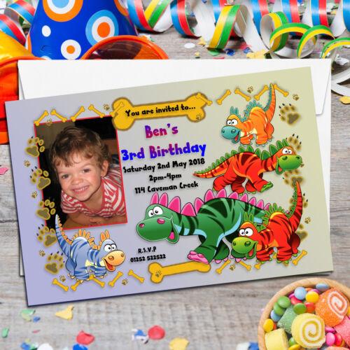 10 Personnalisé Garçon Fille Mignon Dinosaure Fête D/'Anniversaire photo invitations N18