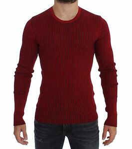 NWT-860-DOLCE-amp-GABBANA-Red-Silk-Crewneck-Ribbed-Sweater-Pullover-Top-IT52-L