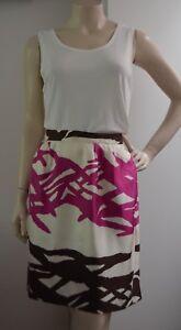 BARNEYS-NEW-YORK-100-SILK-hot-pink-brown-cream-skirt-Italy-US-8-AU-Size-12