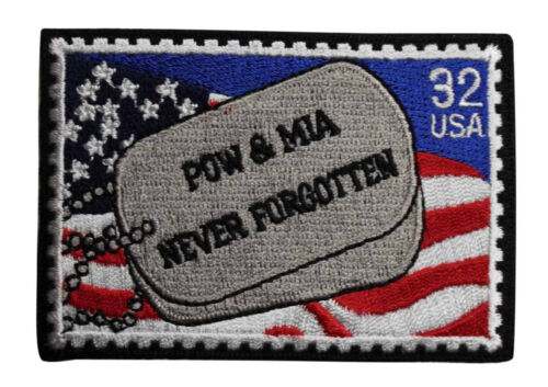 Dog Tag Stamp Biker Army Navy USMC 218-N POW MIA Never Forgotten Iron On Patch