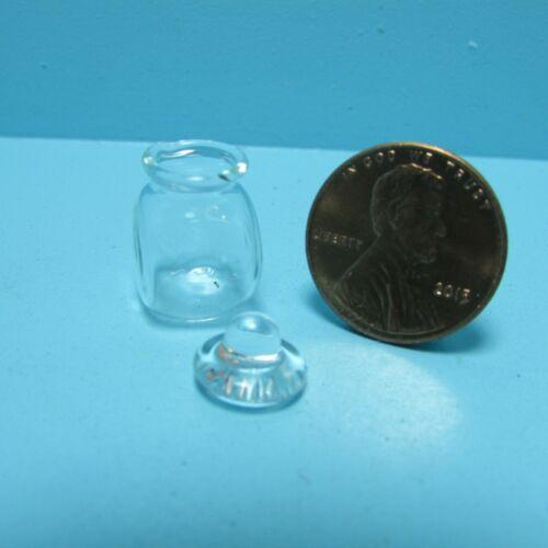 Dollhouse Miniature Glass Square Jar with Lid IM65588