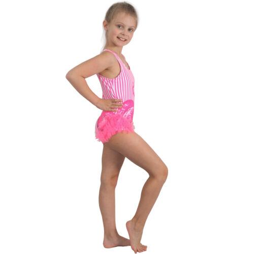 Kinder Rüschen Badeanzug Flamingo Neon Streifen Neckholder Mädchen Strand Bikini
