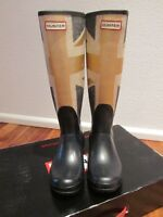 HUNTER Original Brit Gold Union Jack Stiefel Gummistiefel Boots Gr. 38 - Wie neu