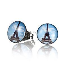 One Pair Stainless Steel Eiffel Tower Black Blue Stud Earrings for Mens Ladies