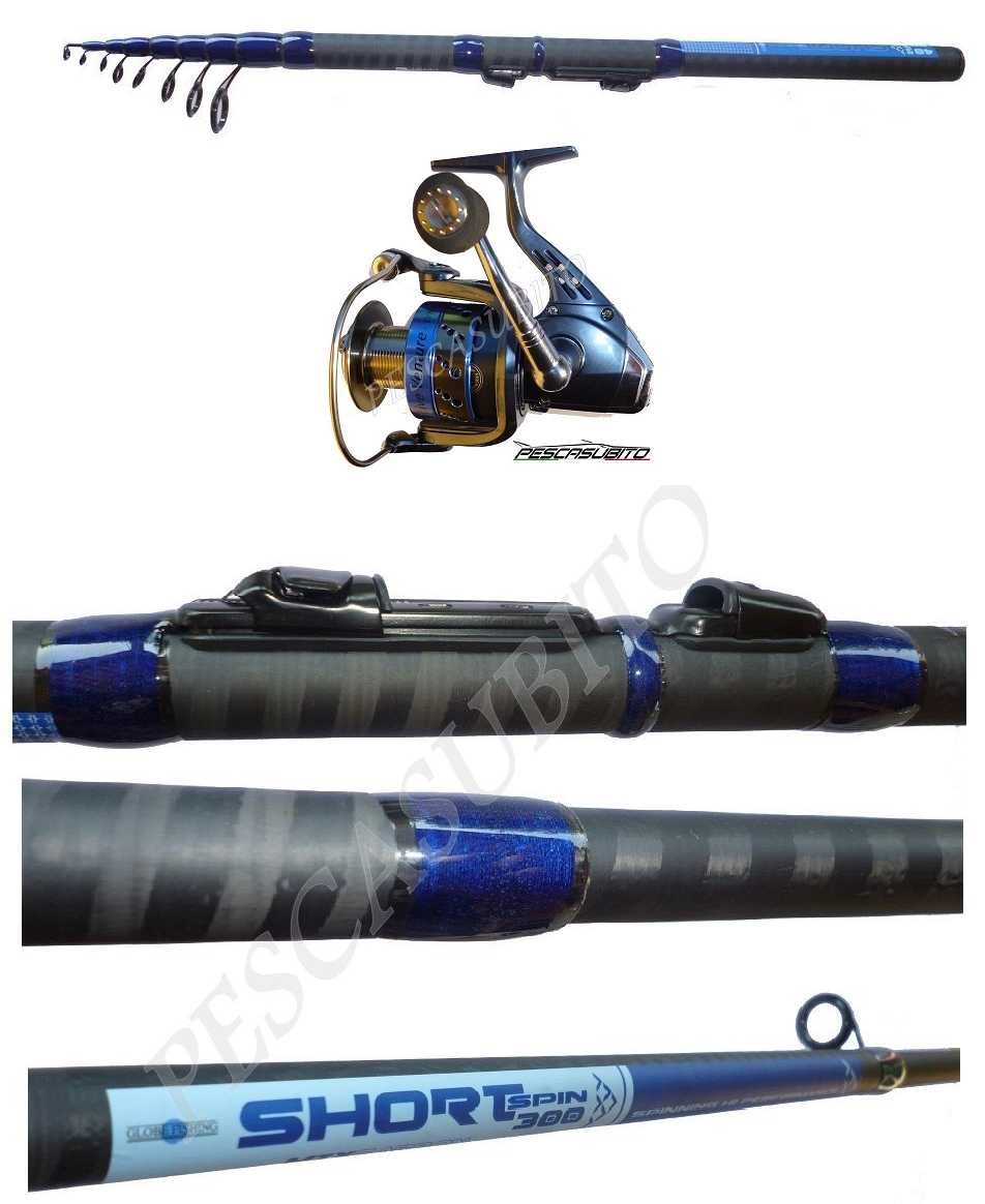Kit canna travel spigola spinning 3m + mulinello pesca trota spigola travel mare lago carbonio af6b88