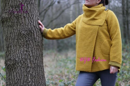 Coat Italian khaki purple One fushia Quirky Wrap Lagenlook Button 8 Black Size burgundy mustard red Jacket 14 Wool 5Hq5nXp6w