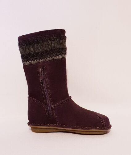 """NEW GIRLS CLARKS /""""SNUGGLE LOVE/"""" PURPLE SUEDE LEATHER PRE INF CALF BOOTS INFANTS"""