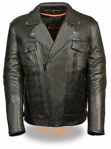Mens-Black-Leather-Motorcycle-Jacket-Vented-Utility-Pockets-Gun-Pockets