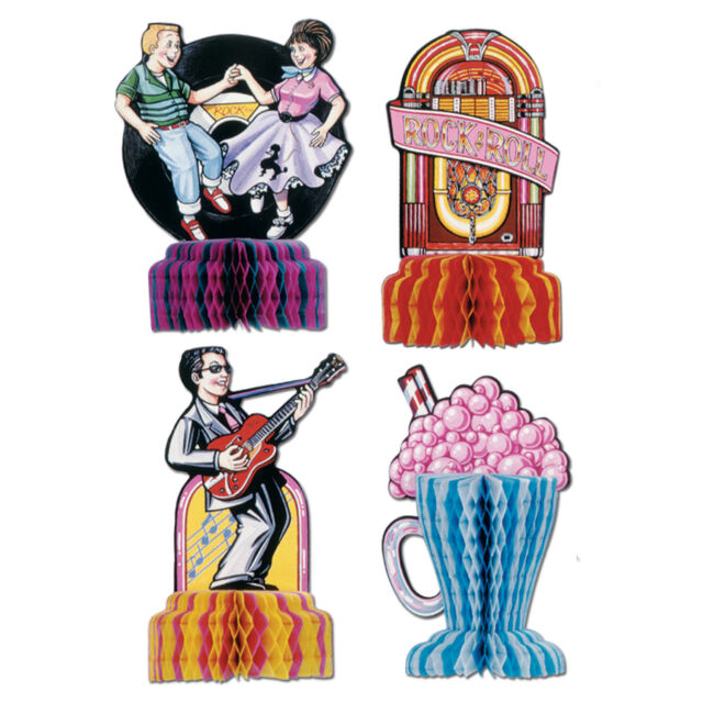 4 Fabulous 1950s Sock Hop GREASE Party MINI Decorations Rock N Roll Playmates
