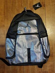 Image is loading Nike-Jordan-Jumpman-Reflector-Backpack-Met-Silver-Black- d325a27b793f6