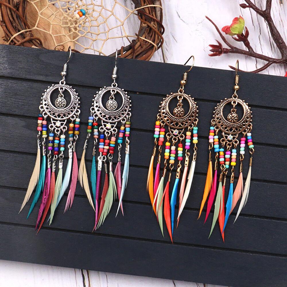 Boho Women Hollow Carved Circle Feather Tassel Dangle Hook Earrings Jewelry Well Earrings