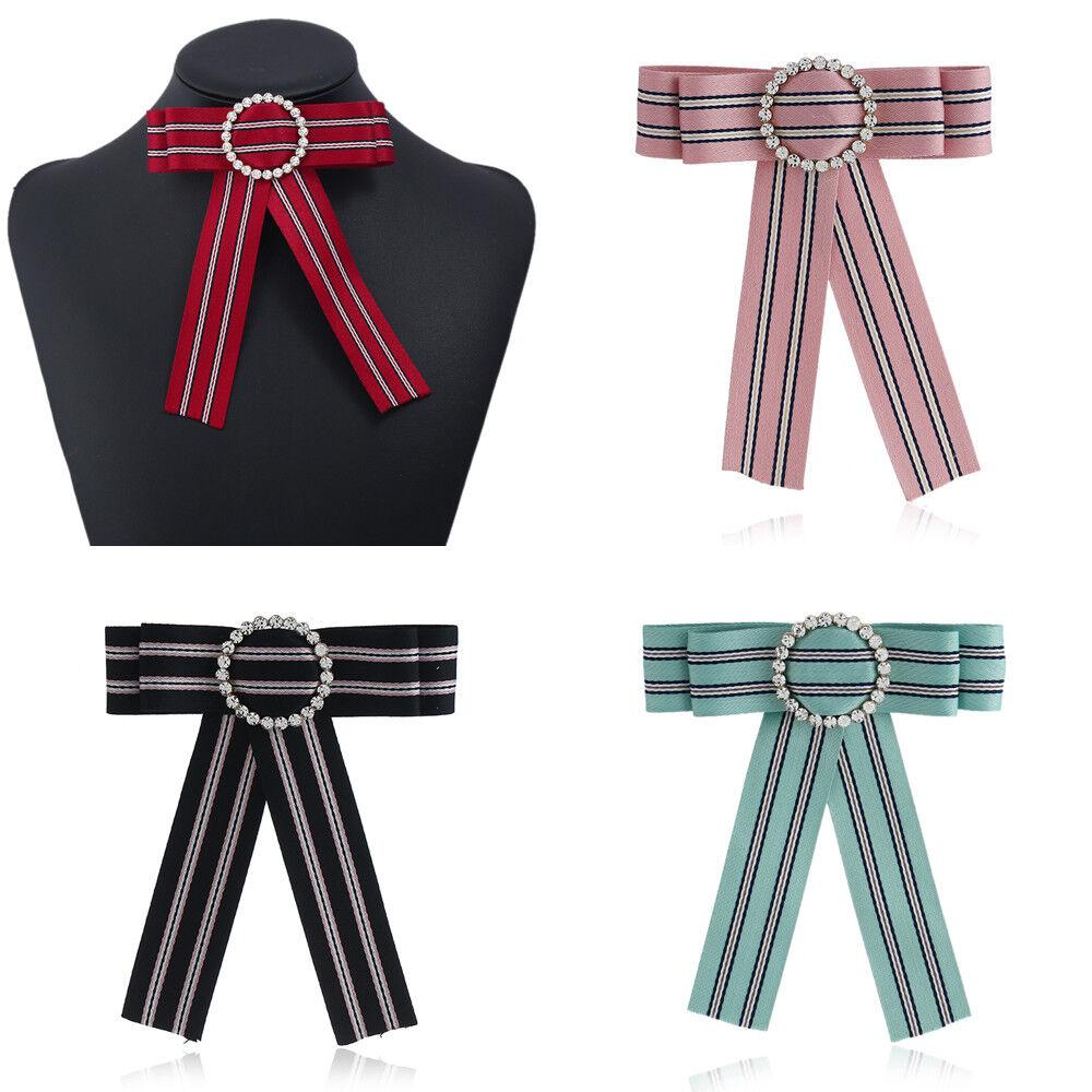 Fashion Women Rhinestone Cloth Cravat Bow Tie Necktie Decor Colleague Bank Staff