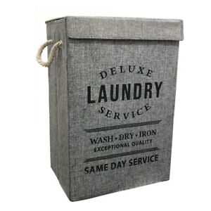 New-Fabric-Laundry-Hamper-Basket-With-Lid-Bin-Washing-Clothes-Bag-Foldable-Box