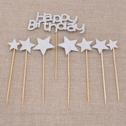 1 Set Glitter Happy Birthday Star Cupcake Toppers Wedding Party Supplies Decor