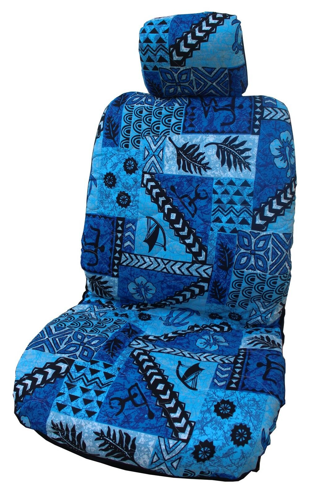 blueee Hawaiian Tapa Design Separate Headrest Car Seat Cover - Set of 2