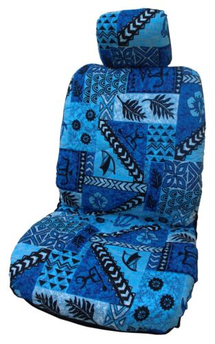 Blue Hawaiian Tapa Design Separate Headrest Car Seat Cover - Set of 2