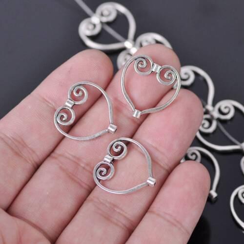 20pcs 20X20mm Tibetan Silver Metal Heart loose Connecteur À faire soi-même Jewelry Findings