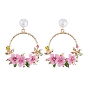 Eg-Femme-Faux-Perle-3D-Fleur-Boucles-D-039-Oreilles-Strass-Mariage-Cocktail-Bijoux