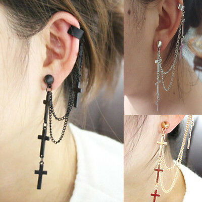 1pc Fashion Cool Rock Punk Crosses Tassel Chain Ear Wrap Cuff Stud Clip Earring