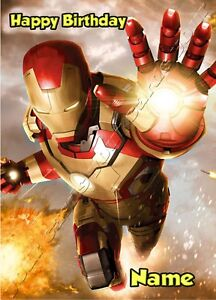 Iron Man Avengers personalised A5 birthday card son grandson brother name age