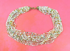 Vintage-Glass-Seed-Bead-Multi-Strand-Necklace-Multi-Colors