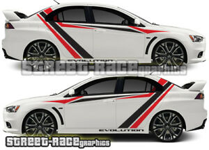 Details About Mitsubishi Side Racing Stripes 026 Stickers Decals Graphics Vinyl Evo Evolution
