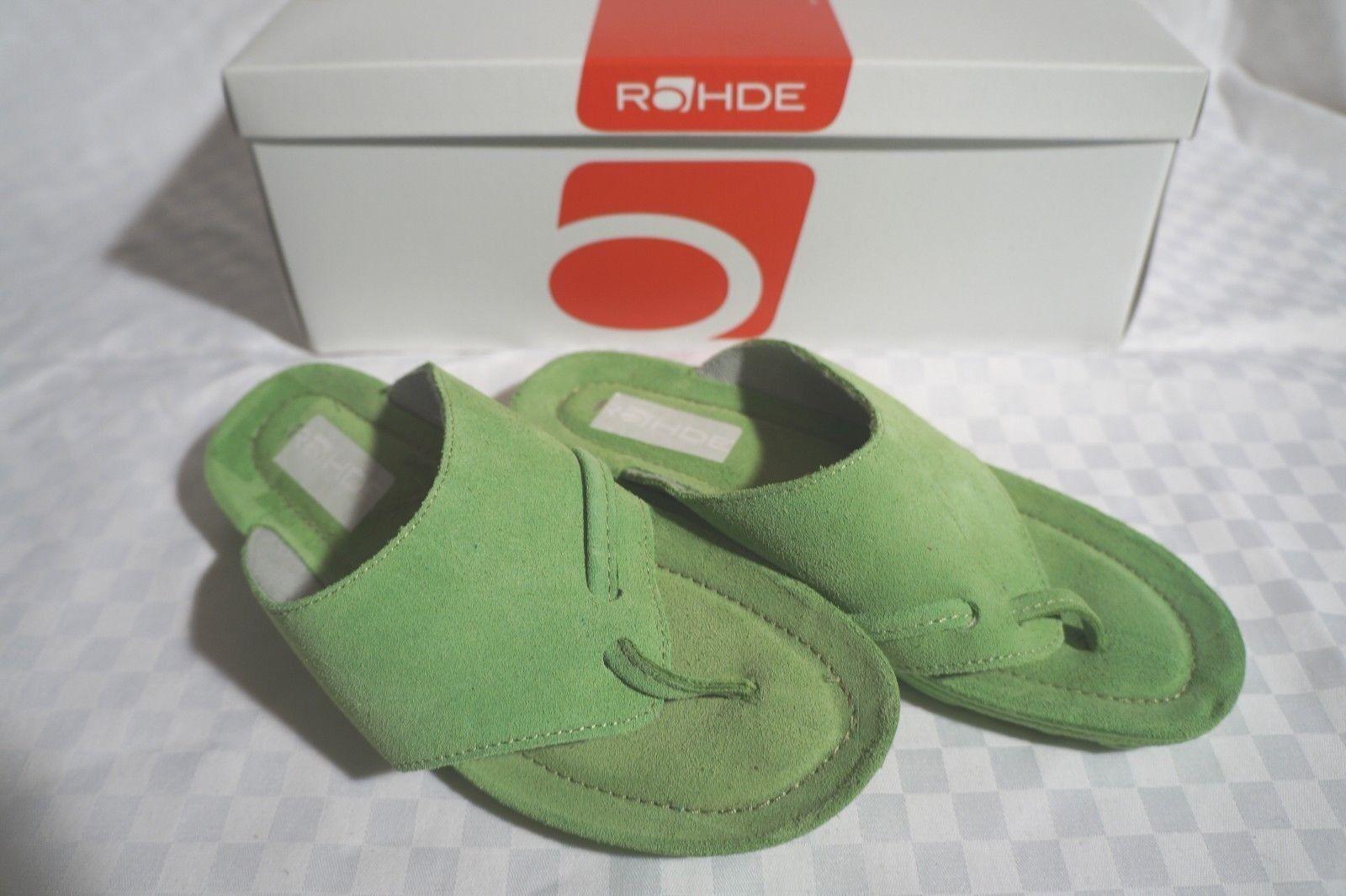 Rohde Zehentrenner 39 Pantolette Leder Gr. 39 Zehentrenner grün weiches Fußbett 03816b