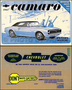 1967 camaro and z 28 z28 rs ss owners manual with envelope 67 chevy rh ebay com camaro owner's manual 1992 camaro owner manual