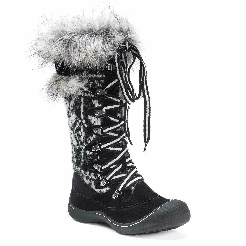 MUK LUKS Women's Gwen Fur Snowboots-White Rain shoes boot, White, Size 6 M New