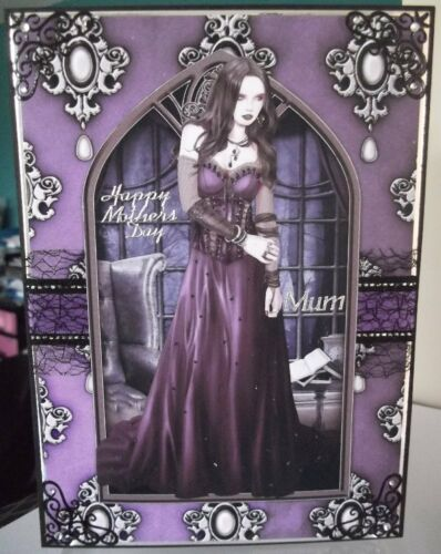 HANDMADE GOTHIC MOTHER/'S MOTHERS DAY CARD BELLA GOTH TWILIGHT LADY IN PURPLE