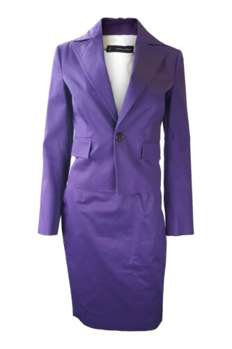 DSQUARED2 PURPLE COTTON TAILORED TWO PIECE SKIRT SUIT 42