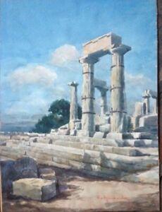 Aquarell-Griechenland-Agina-Aphaia-Tempel-unleserlich-signiert-antik-selten