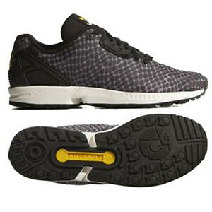 UK SIZE 4.5 ADIDAS ORIGINALS ZX FLUX DECON TORSION TRAINERS BLACK / GREY