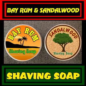 Bay-Rum-amp-Sandalwood-Mix-Pack-Shaving-Soap-2-Pieces-Set-For-Men-100-Handmade