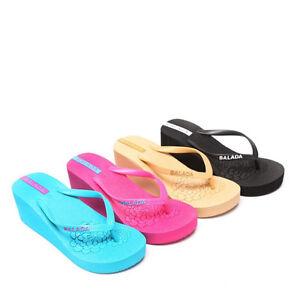 Damen Badelatschen Zehentrenner Beach Strand Sandalen Sommer Schuhe Keilabsatz (36, Türkis)