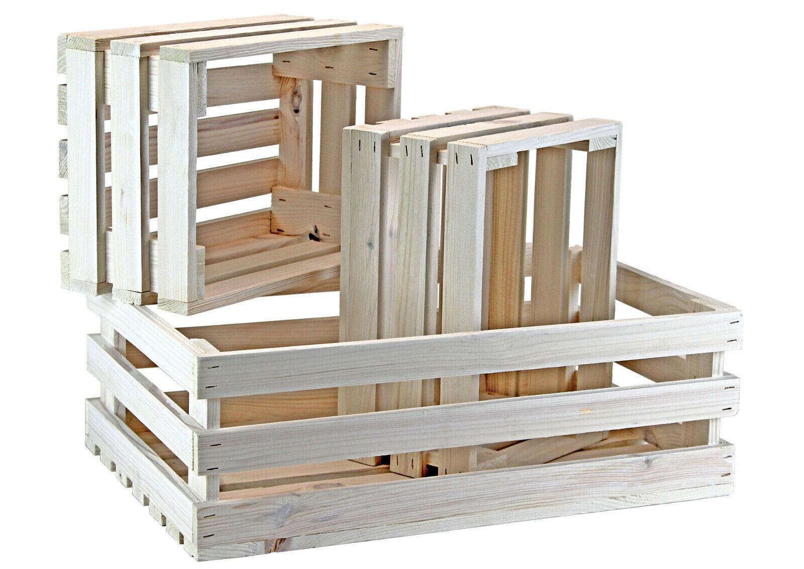 3er set caja de pino/caja de fruta-blanco-caja de vino-dekokisten-papel de regalo