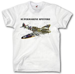 SUPERMARINE SPITFIRE S-XXXL T-SHIRT FIGHTER PLANE BRITISH ...