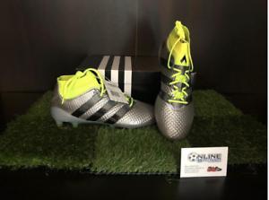 Adidas ACE 16.1 Primeknit FG ag-Plateado Negro Amarillo 9.5, US 10, EU 44