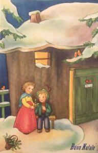 Buon Natale Anni 50.Dettagli Su Cartolina Buon Natale Anni 50 Bc05