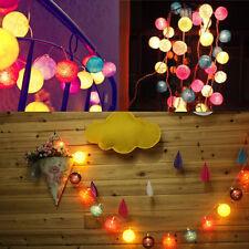 20 COTTON BALL FAIRY LED STRING LIGHTS PARTY PATIO WEDDING Christmas DECOR MN