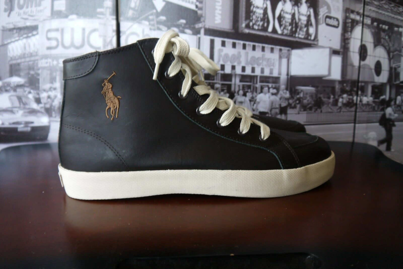 Polo Ralph Lauren Big Pony Hi Top Leather Brown Sneakers hommes US 11 D / EUR 45