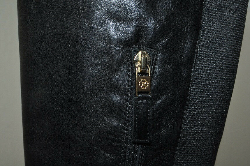NEW NEW NEW L.K. LK Bennett JOANNE BLack Leather Over the Knee OTK Flat démarrage S 40   39.5 edc33d