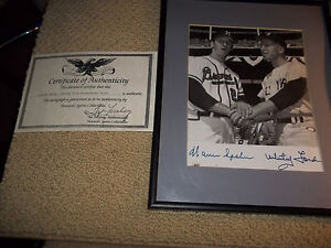 Warren-Spahn-and-Whitey-Ford-autographed-8-x-l0-matted-and-framed-with-COA