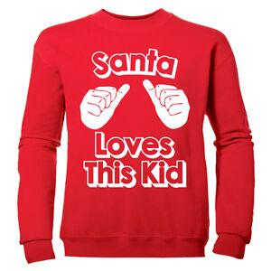 Santa-Loves-este-nino-Festivo-nina-divertido-novedad-infantil-Sueter-De-Navidad