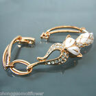 Navachi White Enamel Fox Chain 18K GP Crystal Bracelet Bangle BH3096