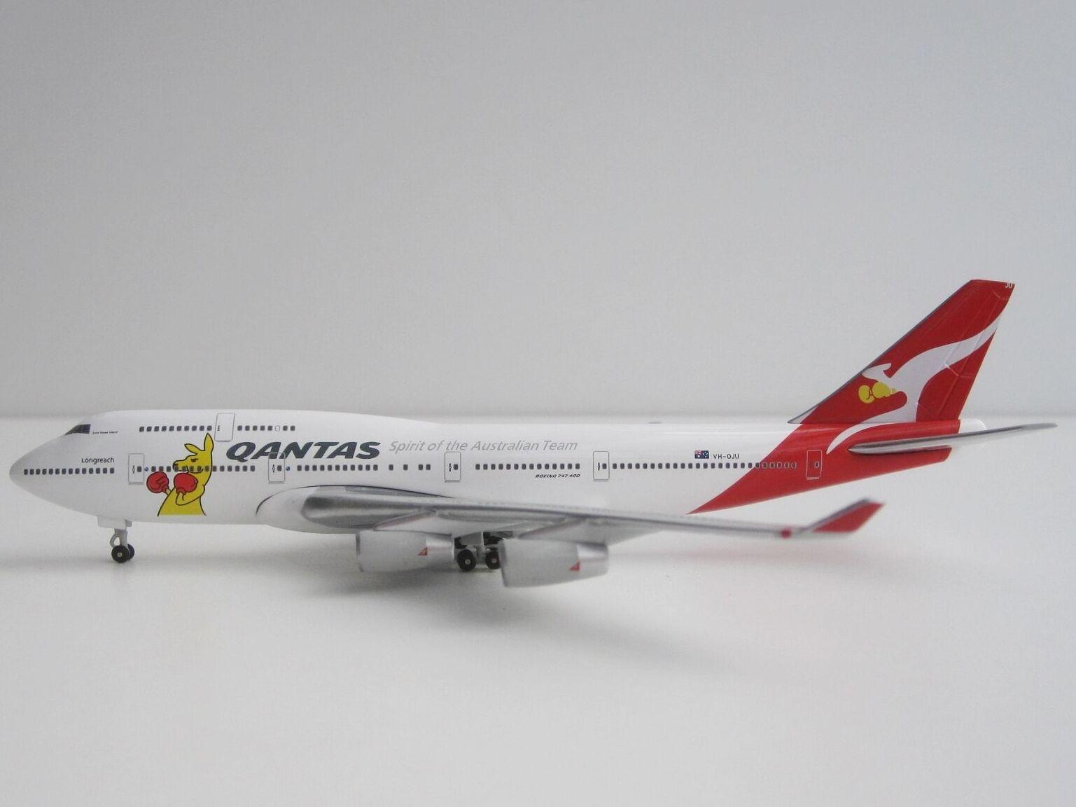 QANTAS Boeing 747-400 Boxing Kangaroo 1 500 Herpa 523912 B744 747 VH-OJU Jumbo  | Marke