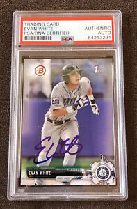 Evan White 2017 1st Bowman Signed Autographed Seattle Mariners Card RC + PSA COA
