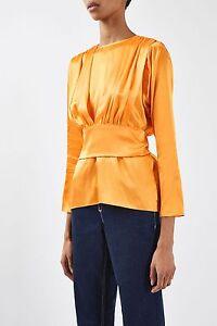 057424e0d9018 Topshop Boutique Pure Silk 80 s Bow Back Orange Satin Blouse Top UK ...