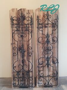 Details About Rustic French Country Scrolling Garden Gate Wood Metal Wall Panel Art Home Decor