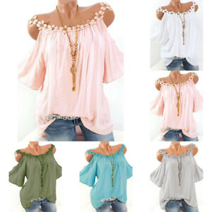 Plus-Size-Womens-Cold-Shoulder-Tee-T-Shirt-Loose-Casual-Tunic-Tops-Blouse-Summer